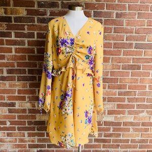 Ella Moon Gabby Mustard & Floral Print Dress